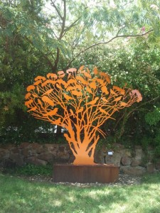 """Mallee tree with birds"" sculpture by Judy Holding"