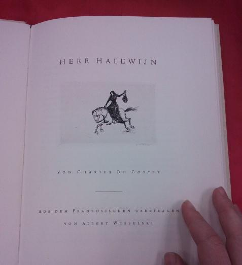 Herr Halewijn title page by de Coster with etching by Hermann Metzger