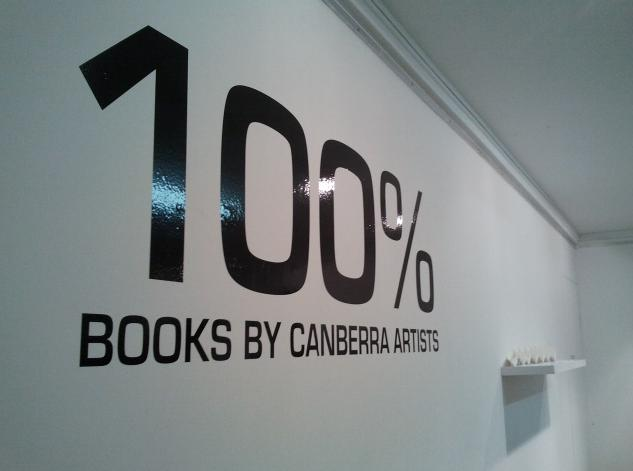 Signage and artworks in 100% Books by Canberra artists exhibition, Watson Arts Centre