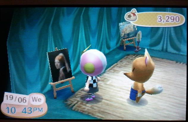 Crazy Redd selling paintings from his tent in Animal Crossing: New Leaf