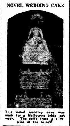 Novel wedding cake. (1935, May 29). Examiner(Launceston, Tas. : 1900 ? 1954), p. 8 Edition: Daily.