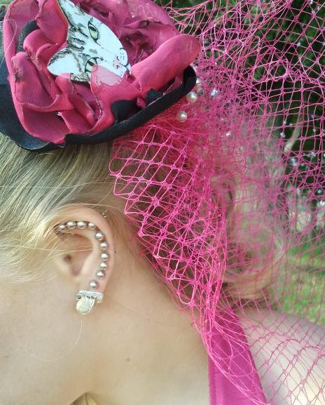 Sonja with Effie Dee veil and gallstone earrings by Lan Nguyen-Hoan and Tarn Smith