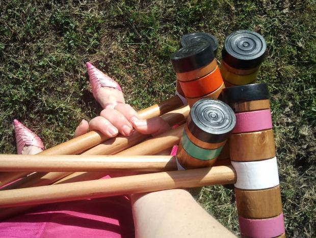 Sonja with croquet mallets