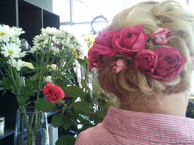 Wedding hair by Rhubarb & me, flowers by The Snail and Petal