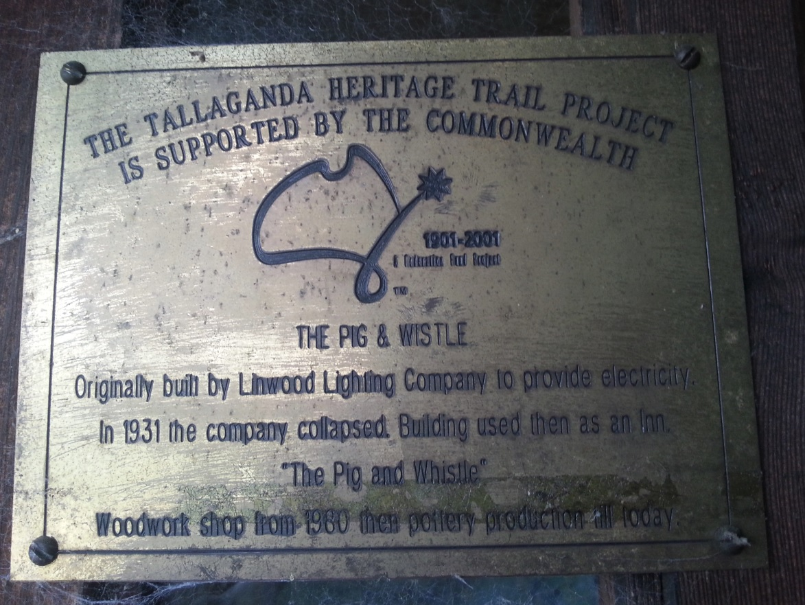 The Pig & Whistle plaque, Tallaganda Heritage Trail Project