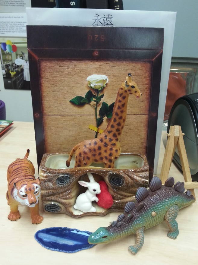 Animal figurines on desk
