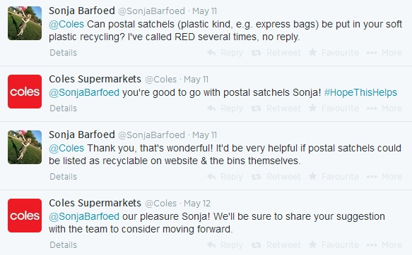 Coles postal satchel twitter REDcycle discussion