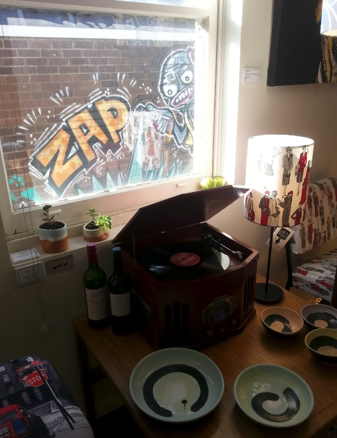 Graffiti and ceramics at The Lost and Found Office, Braddon, Canberra