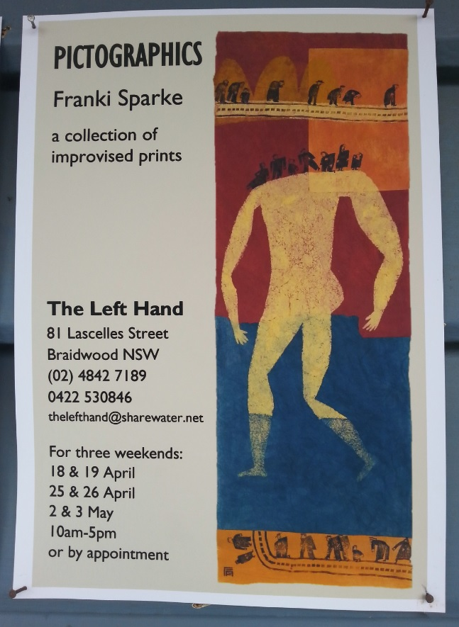 Exhibition poster for Franki Sparke's show, Pictographices