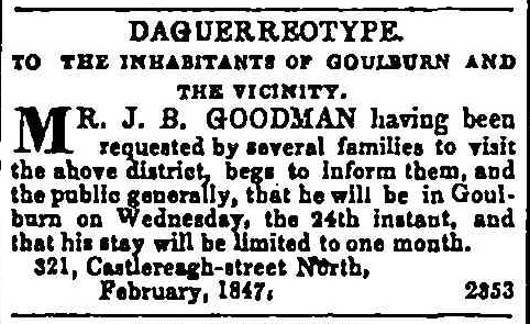 Goodman in Advertising. (1847, February 11). The Sydney Morning Herald (NSW 1842 - 1954), p. 1.