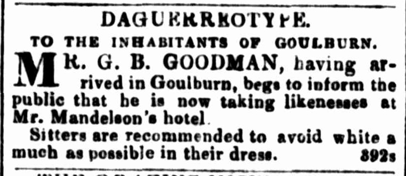 Goodman in Advertising. (1847, March 22). The Sydney Morning Herald (NSW 1842 - 1954), p. 1.